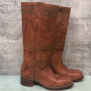 Frye Campus Stitch Tall boots in saddle size 9